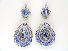 Lavender Indigo Beaded Earrings Swarovski Bead by createdbycarla