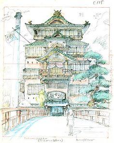 Film: Spirited Away (千と千尋の神隠し) ===== Layout Design - Scene: Approach ===== Hayao Miyazaki