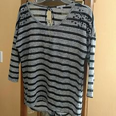 Lightweight open back thin sweater Lightweight  high low thin sweater material with black bling near shoulders. 20% bundle discount Charlotte Russe Tops Blouses