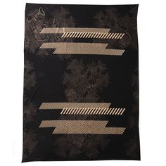 HANDPRINTED IN BRIGHTON VERSATILE FABRIC FOR FASHION AND HOME ACCESSORY. BLACK WOOL JERSEY. FLORAL PRINT GRAPHIC COPPER METALLIC STRIPES