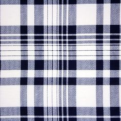 """Sydney Plaid Cotton Spandex Blend Knit Fabric - A exclusive designer overstock score!  On trend and fresh deep navy blue plaid on a white super soft poly cotton spandex blend knit.  Fabric has a soft hand, slight 4 way stretch, stable hand, and is mid weight.  Plaid has a 6 3/4"""" repeat (see image for scale).  A versatile fabric great for many different applications!  ::  $6.50"""