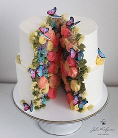 So pretty, the cake couldn't possibly contain it all! Part of Art & Home's curated collection of over 55 Amazing, Cool & Beautiful Birthday Cakes cake decorating recipes kuchen kindergeburtstag cakes ideas Butterfly Birthday Cakes, Unique Birthday Cakes, Beautiful Birthday Cakes, Butterfly Cakes, Beautiful Cakes, Amazing Cakes, Cake Birthday, Stunningly Beautiful, Father Birthday