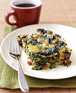 Savory Vegetable Strata. Sub kale for spinach, sun-dried tomatoes for bacon. WW 4p. Add toast or soup.