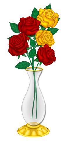 Beautiful Vase with Red and Yellow Roses PNG Picture