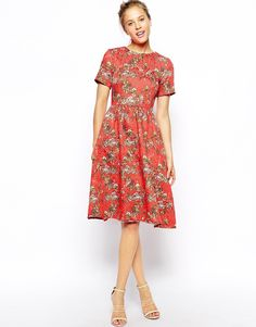 Enlarge ASOS Textured Midi Skater Dress with Floral Print. tea party dress :)