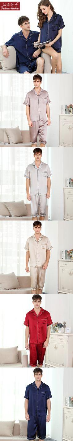 men's pajama sets 2017 new fashion brand summer short sleeve knee length shorts silk pajama set for man silk sleep night wear