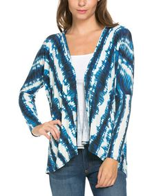 This Royal Inkfish Tie-Dye Chevron Open Cardigan is perfect! #zulilyfinds
