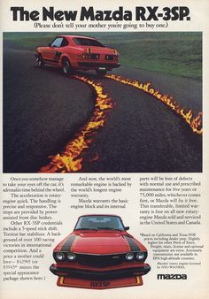 Vintage RX-3SP ad.  Don't tell you mother.