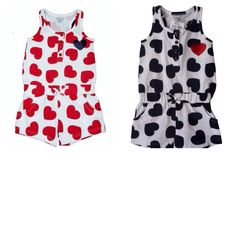 Girls playsuit summer shorts outfit hearts funky diva Sizes 2-6yrs £5.99