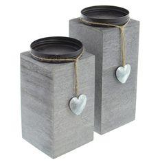 Candle holder Little Heart set of 2 now for buy at Frank Flechtwaren and Deko Online Shop Cement Art, Concrete Cement, Concrete Crafts, Concrete Projects, Concrete Planters, Concrete Candle Holders, Wooden Candle Holders, Cement Countertops, Diy Room Divider