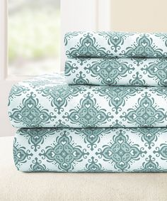 Look what I found on #zulily! Blue Casablanca Egyptian Cotton Sheet Set by Colonial Home Textiles #zulilyfinds