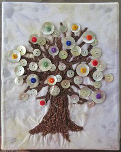 Button Tree Fiber Art Whimsical Wall Art by UniquelyJenCreations