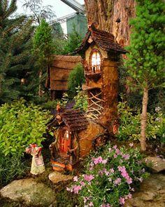 Fairy Tale Rale II Fairy Garden Houses, Gnome Garden, Garden Art, Garden Design, Garden Whimsy, Garden Ideas, Fairy Tree, Fairy Village, Gnome House