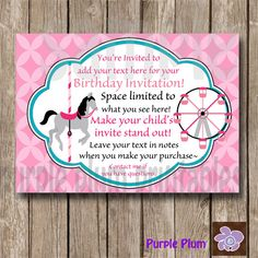 Carnival Invite Personalized Birthday by PurplePlumPrintables