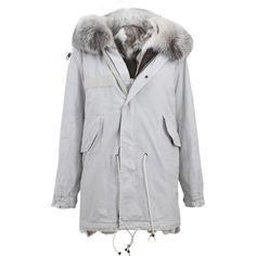 Mr & Mrs Italy St. Moritz Embroidered Canvas Parka (8 015 AUD) ❤ liked on Polyvore featuring outerwear, coats, hooded parka coat, hooded parka, fur hood parka, fur hood coat and fox coat
