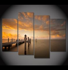 4 Pieces Multi Panel Modern Home Decor Framed Boating Dock Sunset Scenery Wall Canvas Art