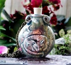 Old European Master Crafted Magical Arts™ Magical Jewelry, Ceramic Jars, Diy Bottle, Bottle Necklace, Bottles And Jars, Wiccan, Christmas Bulbs, Pottery, Ceramics