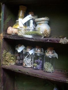 Herbs:  Old shelves with jars of herbs...a Faery stash, perhaps... love this photo