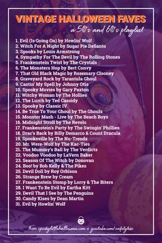 """If you've always wanted more songs like """"Monster Mash"""", this vintage Halloween playlist is for you! Spooky Little Halloween + Safetytess share 31 picks. Halloween Playlist, Halloween Songs, Halloween Themes, Halloween Stuff, Halloween Decorations, Halloween Date, Halloween Horror, Vintage Halloween, Ted Cassidy"""