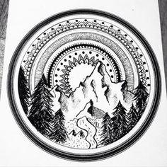 Tattoo Mandala Arm Drawings Ideas For 2019 Mandala Draw, Mandala Arm Tattoo, Mandalas Drawing, Design Tattoo, Tattoo Designs, Arm Drawing, Design Mandala, Mountain Tattoo, Trendy Tattoos