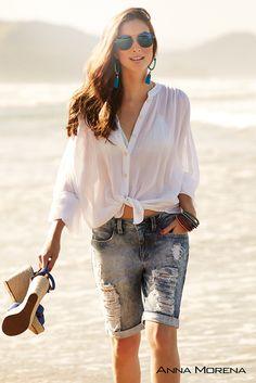 Anna Morena | Spring Summer Collection 2015 | Coleção Primavera Verão 2015 | Camisa de algodão; Bermuda jeans; Tendência; Moda feminina; Trend.