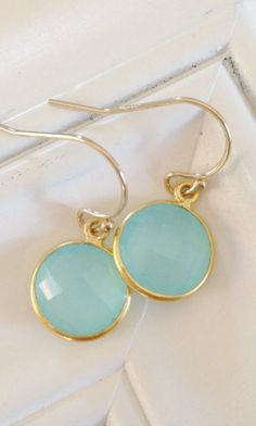 Hello Summer aqua Chalcedony earrings aqua stone. These are so cute!!