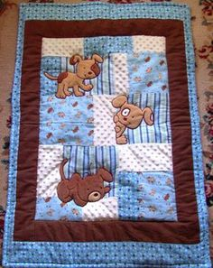 Quilts: Boy Baby Quilt Baby Quilt Kits Boys Puppy Baby Quilt Flannel Blanket Patchwork Flannel Back Boy Blanket X Via Baby Quilt Kits Boys Easy To Make Baby Boy Quilts: Quilt Baby, Baby Boy Quilt Patterns, Patchwork Quilt Patterns, Patchwork Blanket, Patchwork Baby, Applique Quilts, Patchwork Tutorial, Quilting Patterns, Baby Quilts For Boys