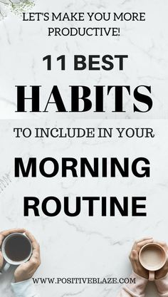These habits are known as the best habits of most successful people from all around the world. Try to include as many habits as you can in your morning routine and you will notice a great difference in your productivity levels. Miracle Morning, Morning Ritual, Early Morning, Evening Routine, Night Routine, Good Habits, Healthy Habits, Morning Habits, Morning Routines