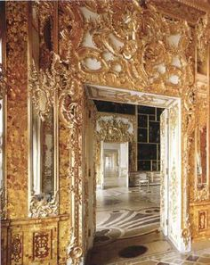 The Amber Room, moved from Prussia to Saint Petersburg by Peter the Great in 1717, then to the Catherine Palace at Tsarskoye Selo by Empress Elizabeth in 1755.