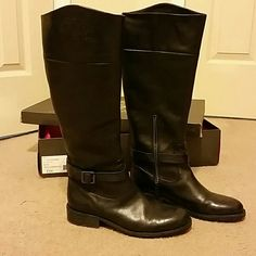 """Vince Camuto Black Leather Riding Boots Size 8.5 riding boots from Dillard's. They've been worn about one season but not often and well cared for. 17"""" Tall on the inside and 18"""" Tall on the outside. The circumference of the calf is 15"""". They have a side zipper to make getting on and off easier. Comes with original packaging. Vince Camuto Shoes Over the Knee Boots"""