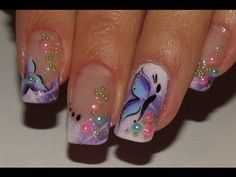 DIY – Ombre white and purple Spring fairy Nail Art flower, butterfly and pretty pearls. Nail Art Designs, Butterfly Nail Designs, Butterfly Nail Art, Pretty Nail Designs, Flower Nail Art, Pretty Nail Art, Acrylic Nail Designs, Purple Butterfly, Butterfly Flowers