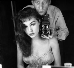 Julie Newmar and a photographer, 1950s (let me catch my breath!)