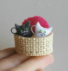 lLOVE LOVE THIS PICE OF CHARM  Cats in basket miniature felt stuffed toy play set on Etsy, $20.57 AUD