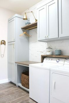 Frills and Drills laundry room DIY inspiration Modern Laundry Rooms, Laundry Room Layouts, Laundry Room Remodel, Laundry Room Cabinets, Farmhouse Laundry Room, Laundry Room Storage, Diy Cabinets, Blue Cabinets, Laundry Closet