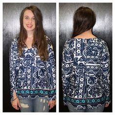 """""""Dripping Springs"""" Blue Paisley Top S, M, L $48 http://www.smalltowngypsy.com/catalog.php?item=4637"""