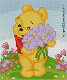 Disney Winnie the Pooh cross stitch. Cross Stitch Love, Cross Stitch Designs, Cross Stitch Patterns, Kids Patterns, Canvas Patterns, Winnie Phoo, Cross Stitching, Cross Stitch Embroidery, Modele Pixel Art