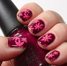 pink flowers ... Nail Art Design