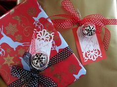 Gift wrapping with bells. Giving, Wraps, Gift Wrapping, Christmas Ornaments, Holiday Decor, Gifts, Home Decor, Gift Wrapping Paper, Presents