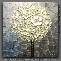 ORIGINAL White Blossom Lollipop Tree Abstract by ModernHouseArt