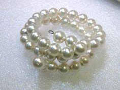 "Vintage Coiled Faux Pearl Bracelet, 6"", Double Strand, 1940-1950's, Slender…"