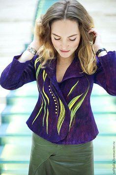 """Купить Валяный жакет """"VIOLET"""", ручное окрашивание, вышивка - тёмно-фиолетовый, вышивка, вышивка ручная"""
