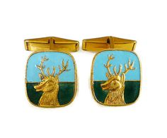 Stag Deer Cufflinks Enamel Gold Tone Great by zephyrvintage
