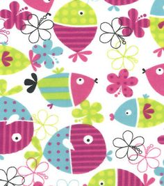 Snuggle Flannel Fabric Fish Floral