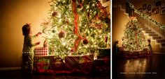 photographing children by christmas trees