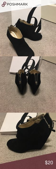 Nine West ankle booties Black suede worn twice still in excellent condition Nine West Shoes Ankle Boots & Booties