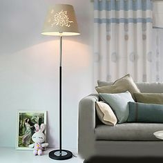 Modern Korean-Style Minimalist Floor Lamp With Floral Pattern – lights for apartments