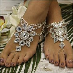 5586ba084a6 CRYSTAL barefoot sandals - gold