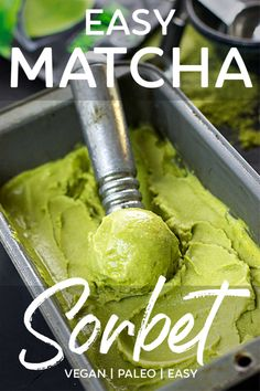 Easy matcha sorbet is a chilly way to get your matcha fix in the hot summer sun! Blender recipe, super easy, natural ingredients, vegan and gluten free. Matcha Ice Cream, Vegan Ice Cream, Blender Recipes, Beef Recipes, Jelly Recipes, Canning Recipes, Vegan Dessert Recipes, Gluten Free Desserts, Gelato