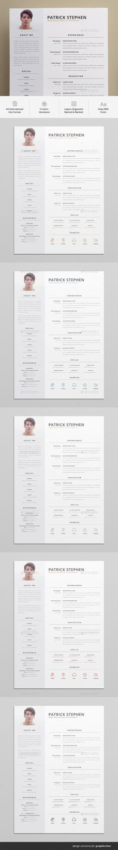 Resume A4 Template PSD - 5 Color Variations, 19 Hobbies icons