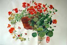 """""""Nasturtium"""", watercolor, Batenev Alexandr"""